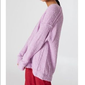 Free People Lofty V-Neck Sweater boucle knit lilac